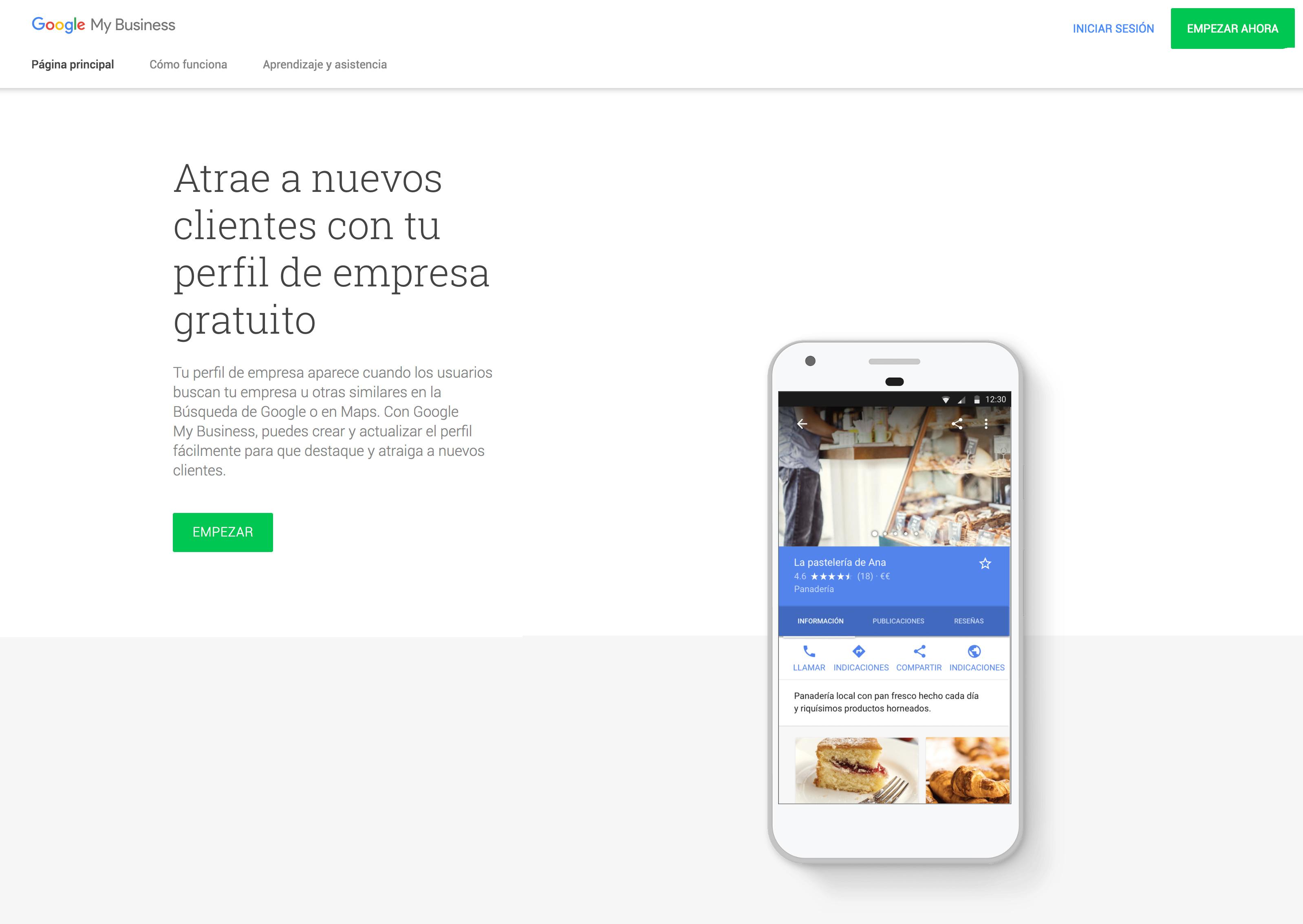 pagina web de google my business para empezar
