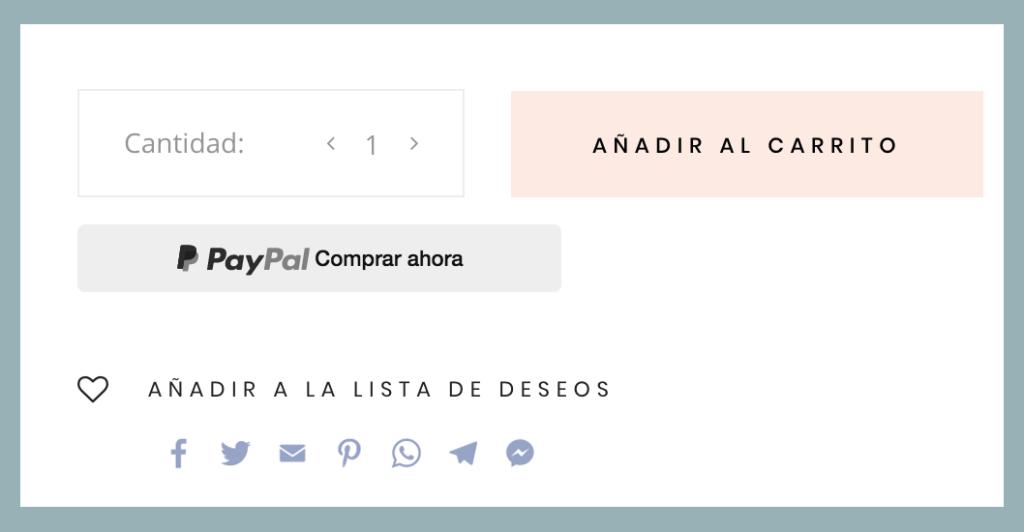 ficha de producto WordPress con redes sociales para compartir
