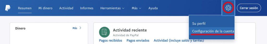 Paypal web hacer clic en configuración de la cuenta