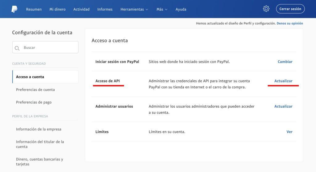 Panel Paypal para acceder a los credenciales API