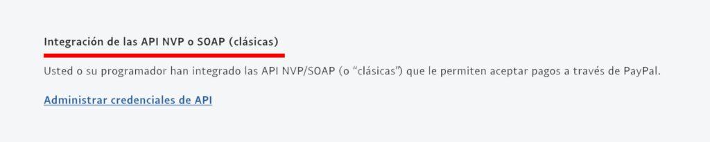 Sección integración API soap clásicas