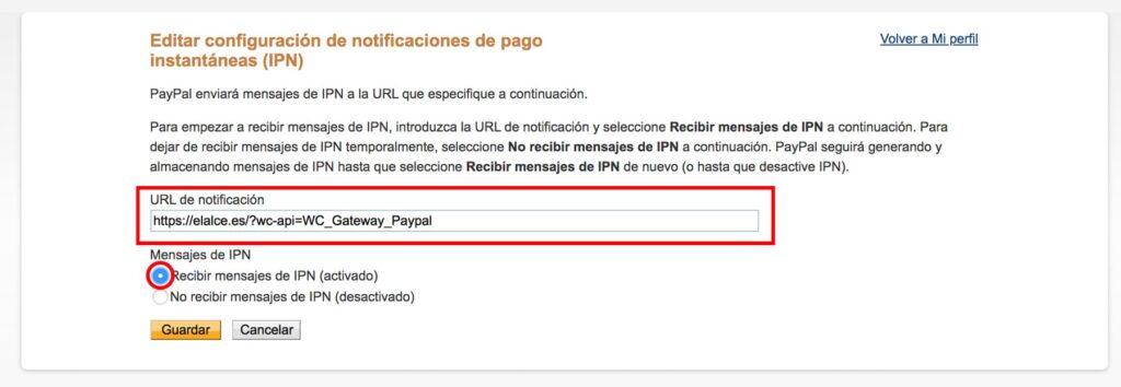 configuración de IPN paypal para recibir mensajes ipn