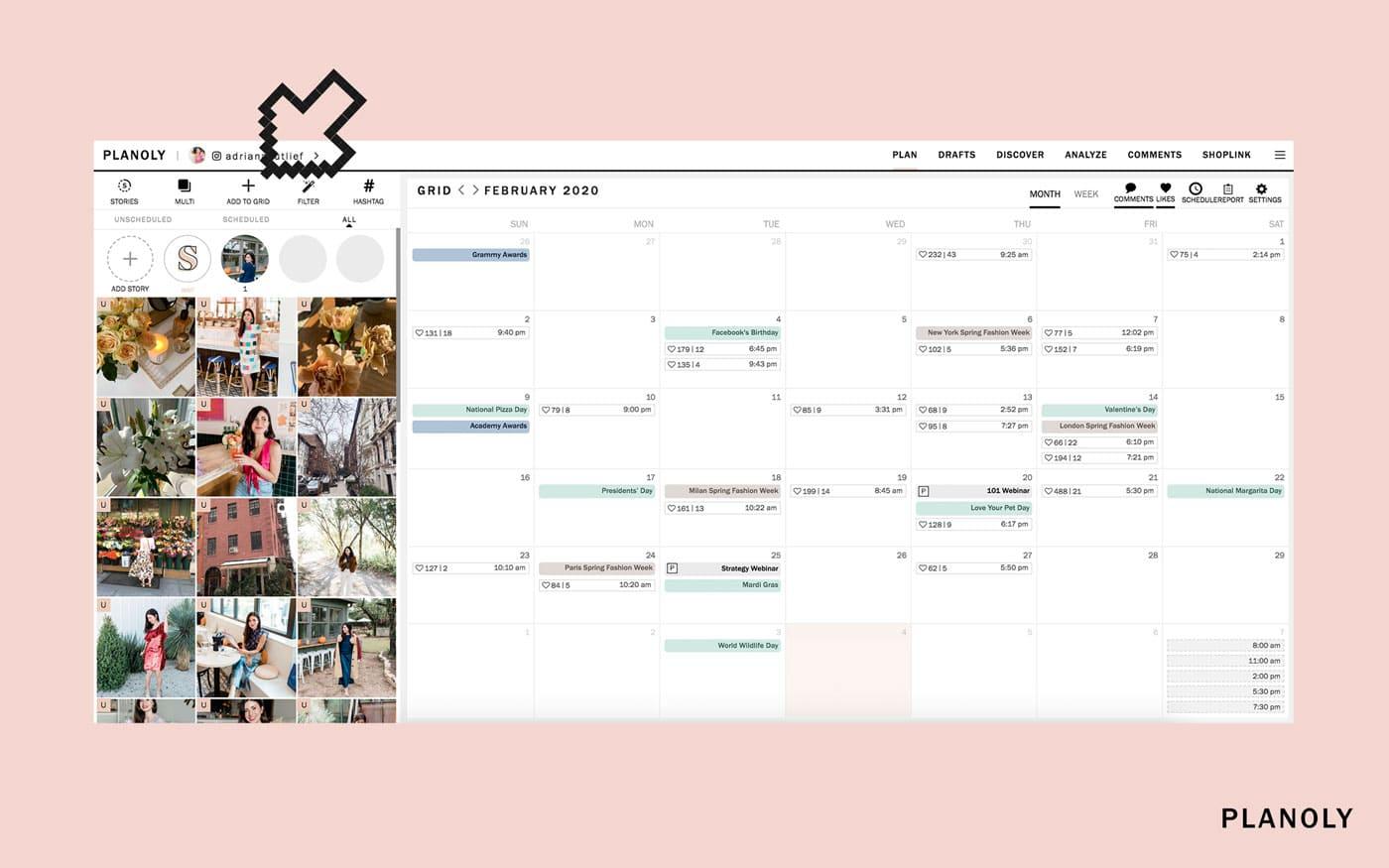 Vista de Calendario de planoly para programar tus publicaciones de instagram